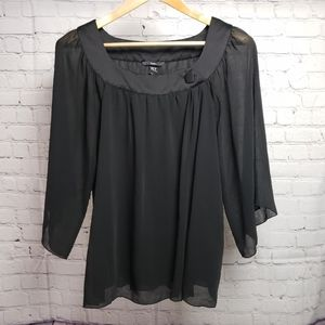 H&M 60s Style Black Sheer Flowy Blouse 4 Small